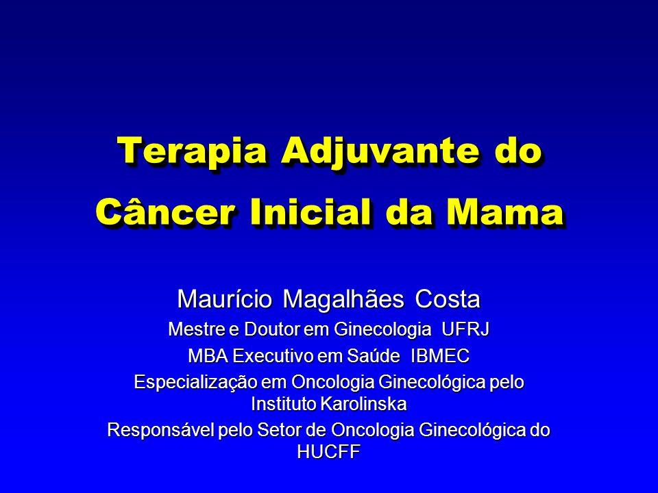 Quimioterapia Adjuvante 4 Proporciona aumento significativo na sobrevida livre de recaída e sobrevida global 4 Redução relativa do risco observada, independente do volume tumoral inicial ou categoria de prognóstico 4 Magnitude do benefício maior em mulheres 50 anos 4 Resultados dependentes de RE.