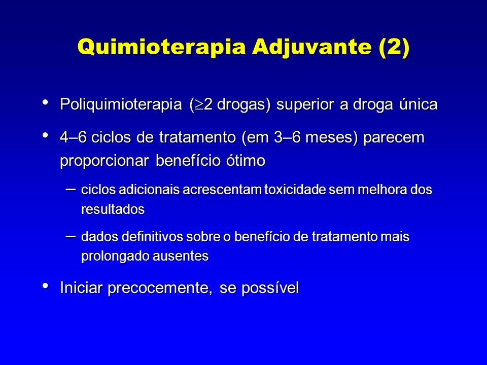 Quimioterapia Adjuvante (2) Poliquimioterapia ( 2 drogas) superior a droga única Poliquimioterapia ( 2 drogas) superior a droga única 4–6 ciclos de tr