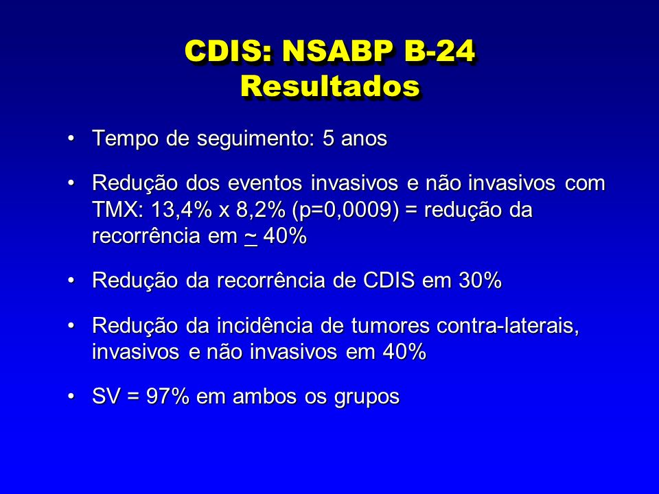 CDIS: NSABP B-24 Resultados Tempo de seguimento: 5 anosTempo de seguimento: 5 anos Redução dos eventos invasivos e não invasivos com TMX: 13,4% x 8,2%