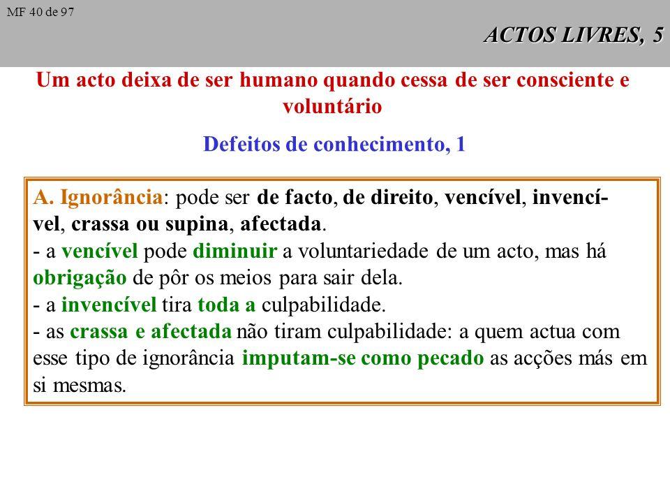 ACTOS LIVRES, 5 Um acto deixa de ser humano quando cessa de ser consciente e voluntário Defeitos de conhecimento, 1 A.