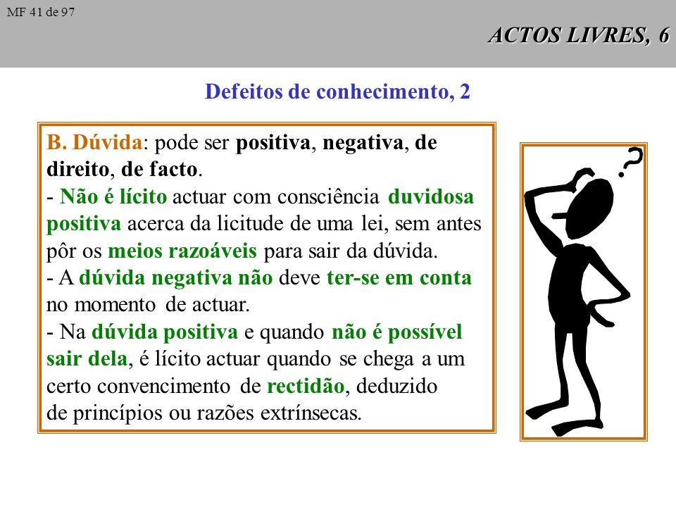 ACTOS LIVRES, 6 Defeitos de conhecimento, 2 B.