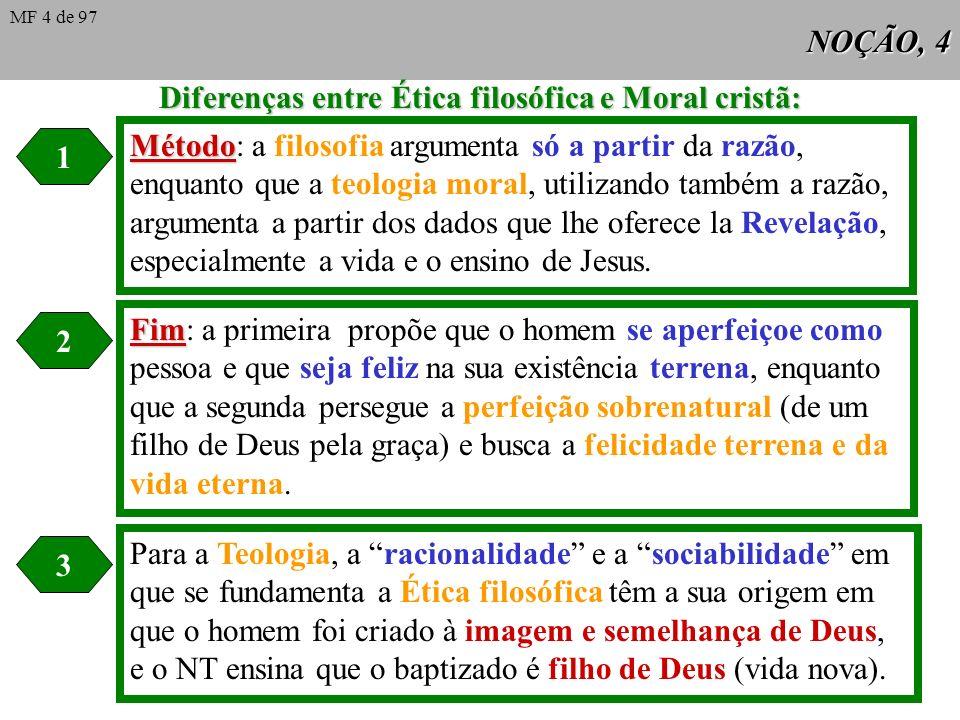 NOÇÃO, 4 Diferenças entre Ética filosófica e Moral cristã: 1 2 3 Método Método: a filosofia argumenta só a partir da razão, enquanto que a teologia moral, utilizando também a razão, argumenta a partir dos dados que lhe oferece la Revelação, especialmente a vida e o ensino de Jesus.