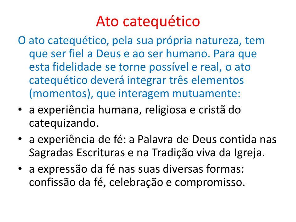 Ato catequético O ato catequético, pela sua própria natureza, tem que ser fiel a Deus e ao ser humano. Para que esta fidelidade se torne possível e re