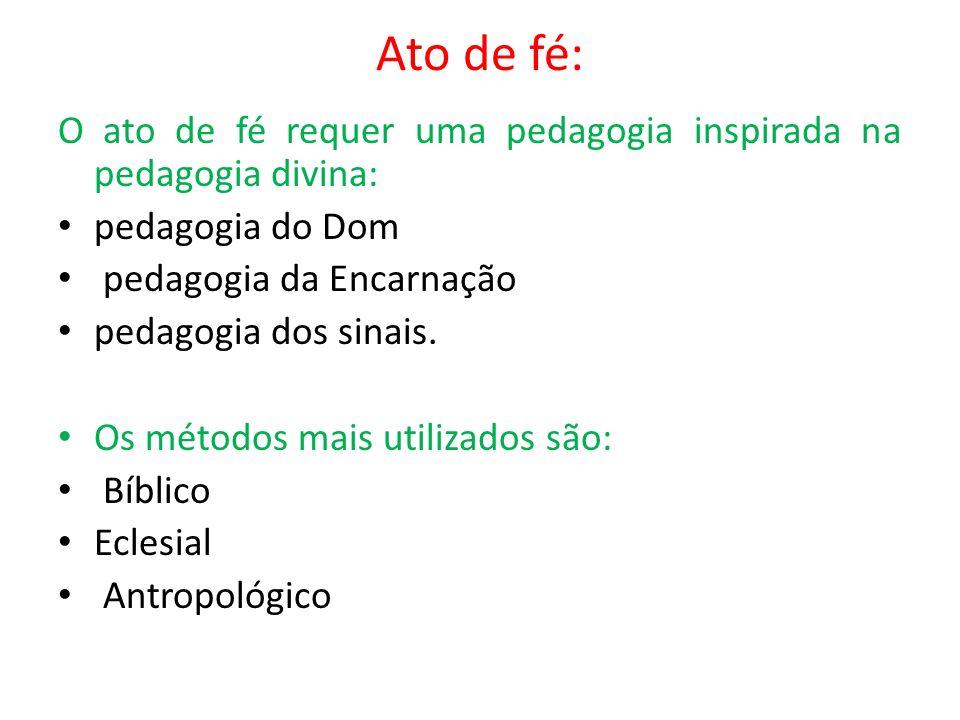 Ato de fé: O ato de fé requer uma pedagogia inspirada na pedagogia divina: pedagogia do Dom pedagogia da Encarnação pedagogia dos sinais. Os métodos m