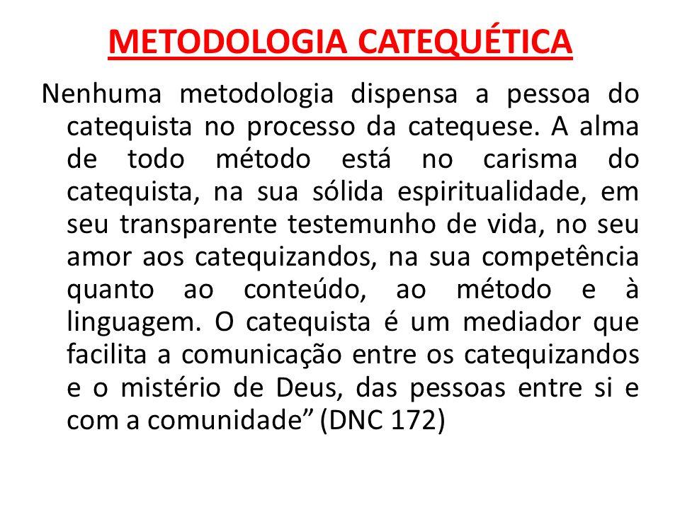 METODOLOGIA CATEQUÉTICA Nenhuma metodologia dispensa a pessoa do catequista no processo da catequese. A alma de todo método está no carisma do catequi