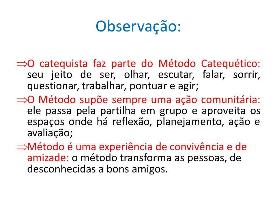Observação: O catequista faz parte do Método Catequético: seu jeito de ser, olhar, escutar, falar, sorrir, questionar, trabalhar, pontuar e agir; O Mé