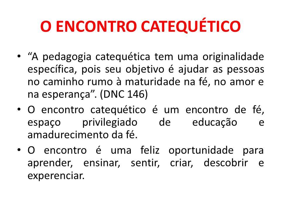 O ENCONTRO CATEQUÉTICO A pedagogia catequética tem uma originalidade específica, pois seu objetivo é ajudar as pessoas no caminho rumo à maturidade na