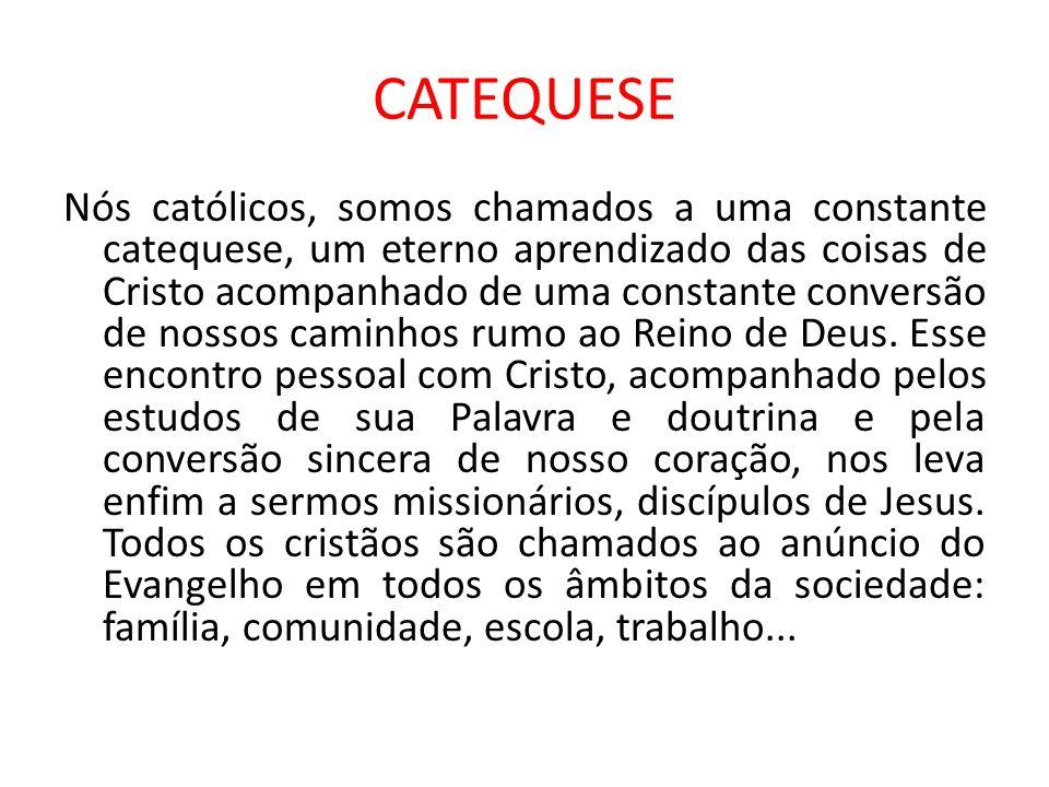 CATEQUESE Nós católicos, somos chamados a uma constante catequese, um eterno aprendizado das coisas de Cristo acompanhado de uma constante conversão d