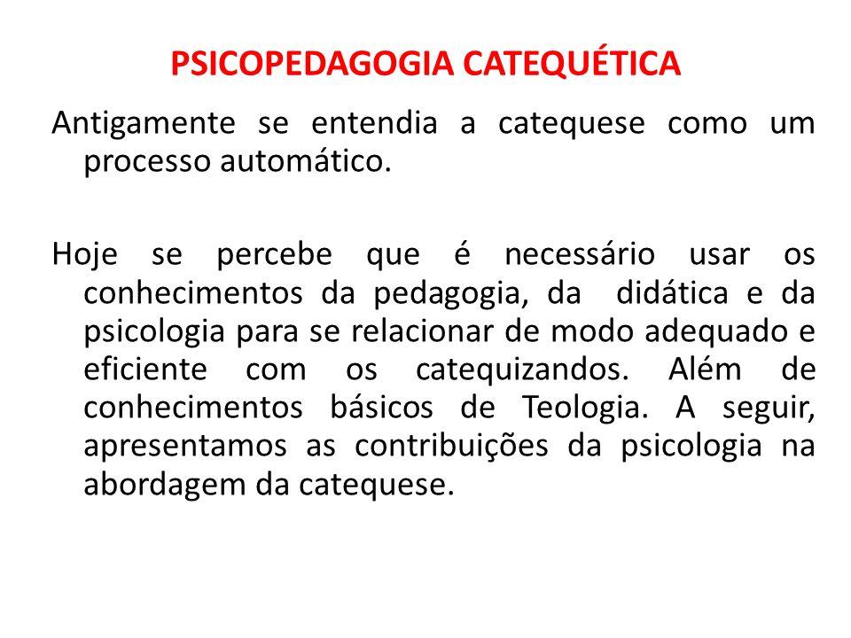 PSICOPEDAGOGIA CATEQUÉTICA Antigamente se entendia a catequese como um processo automático. Hoje se percebe que é necessário usar os conhecimentos da