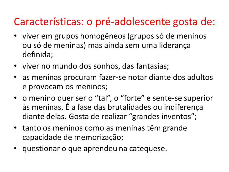 Características: o pré-adolescente gosta de: viver em grupos homogêneos (grupos só de meninos ou só de meninas) mas ainda sem uma liderança definida;