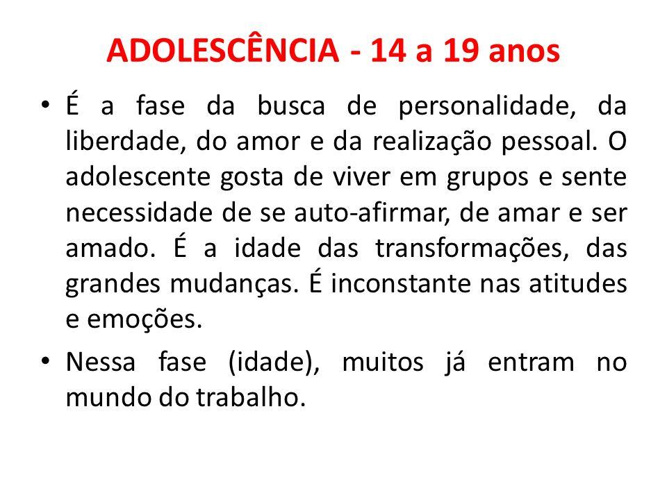 ADOLESCÊNCIA - 14 a 19 anos É a fase da busca de personalidade, da liberdade, do amor e da realização pessoal. O adolescente gosta de viver em grupos