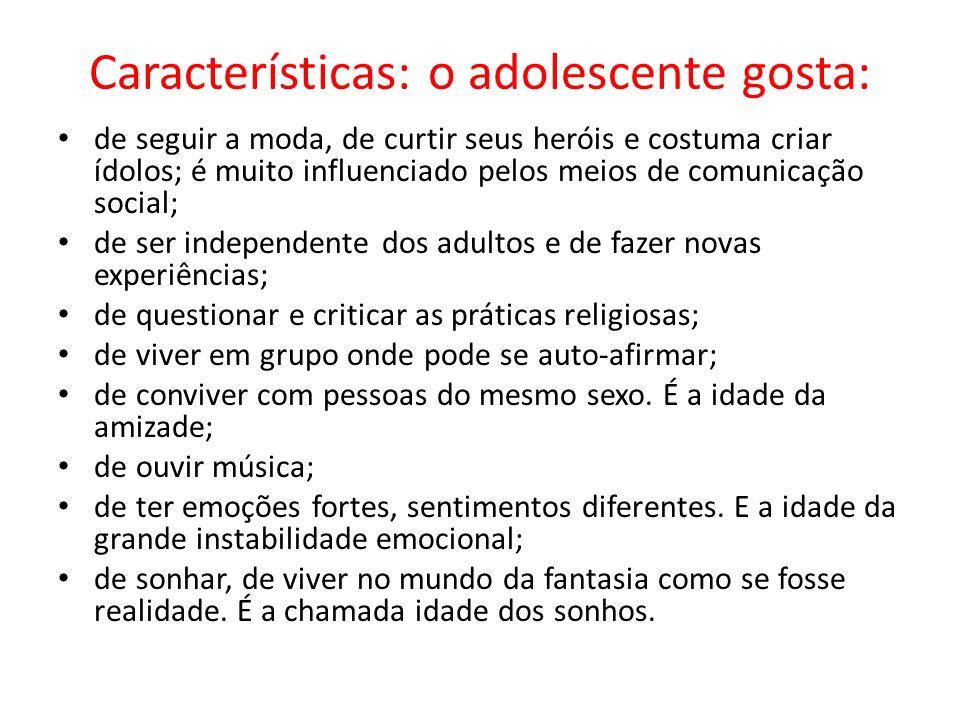 Características: o adolescente gosta: de seguir a moda, de curtir seus heróis e costuma criar ídolos; é muito influenciado pelos meios de comunicação