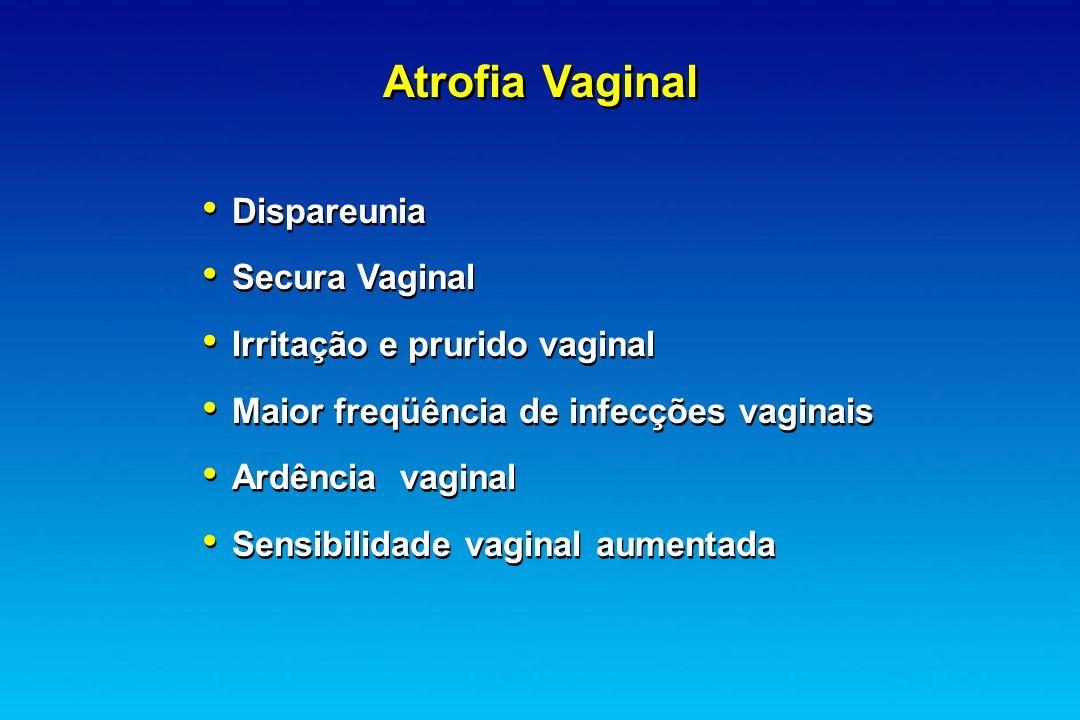 Atrofia Vaginal Dispareunia Secura Vaginal Irritação e prurido vaginal Maior freqüência de infecções vaginais Ardência vaginal Sensibilidade vaginal a