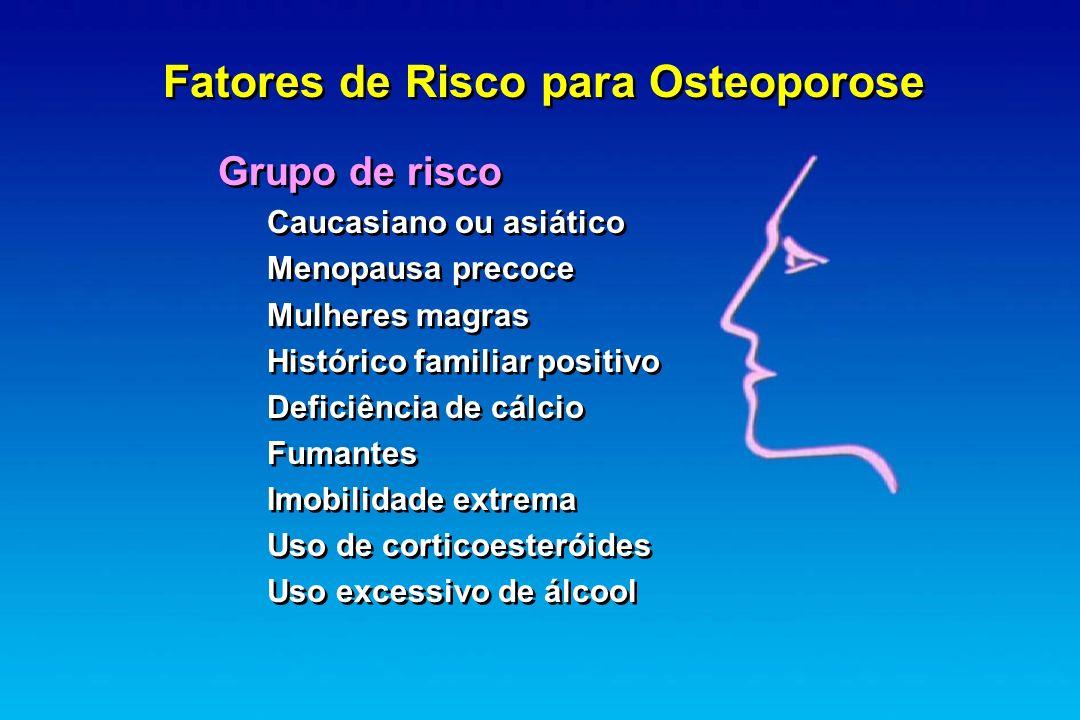 Fatores de Risco para Osteoporose Grupo de risco Caucasiano ou asiático Menopausa precoce Mulheres magras Histórico familiar positivo Deficiência de c