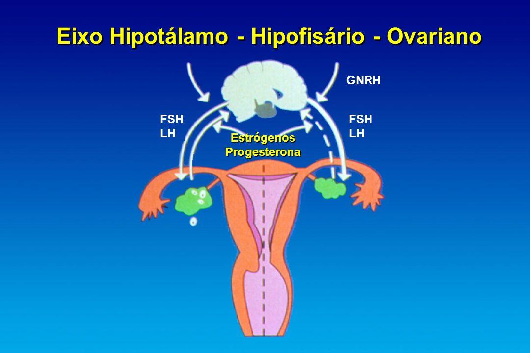 Eixo Hipotálamo - Hipofisário - Ovariano Estrógenos Progesterona Estrógenos Progesterona FSH LH FSH LH GNRH