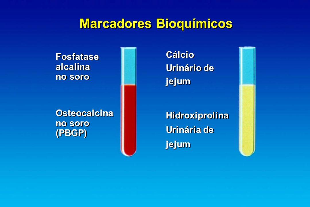 Marcadores Bioquímicos Fosfatase alcalina no soro Osteocalcina no soro (PBGP) Cálcio Urinário de jejum Cálcio Urinário de jejum Hidroxiprolina Urinári