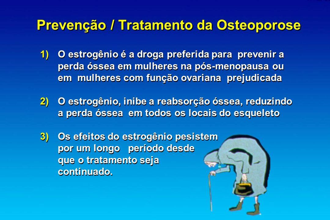 Prevenção / Tratamento da Osteoporose 1) O estrogênio é a droga preferida para prevenir a perda óssea em mulheres na pós-menopausa ou em mulheres com