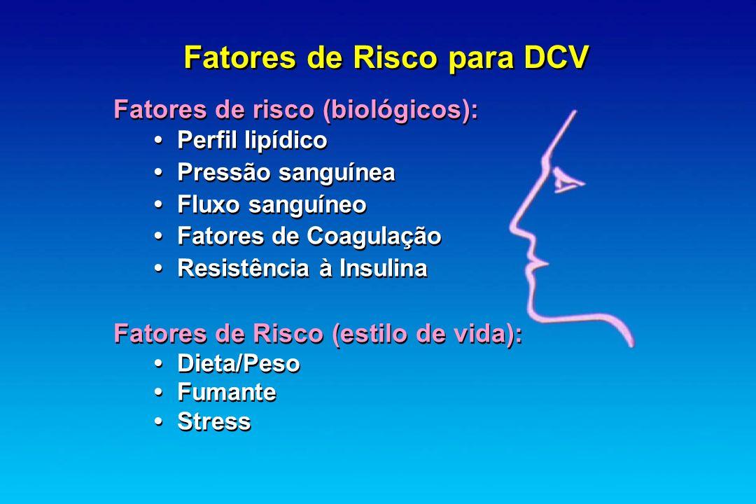 Fatores de Risco para DCV Fatores de risco (biológicos): Perfil lipídico Pressão sanguínea Fluxo sanguíneo Fatores de Coagulação Resistência à Insulin