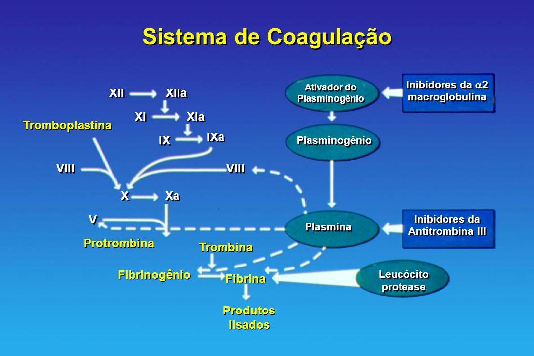 Sistema de Coagulação Ativador do Plasminogênio Ativador do Plasminogênio Inibidores da 2 macroglobulina Inibidores da Antitrombina III Inibidores da