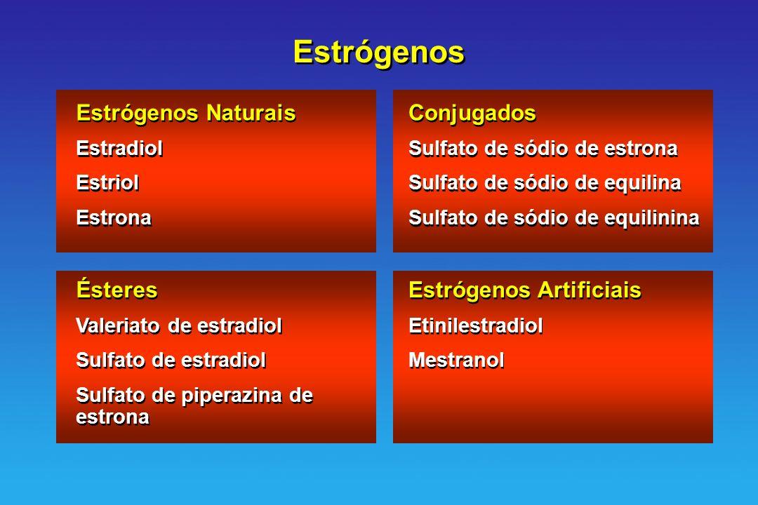 Estrógenos Estrógenos Naturais Estradiol Estriol Estrona Estrógenos Naturais Estradiol Estriol Estrona Conjugados Sulfato de sódio de estrona Sulfato