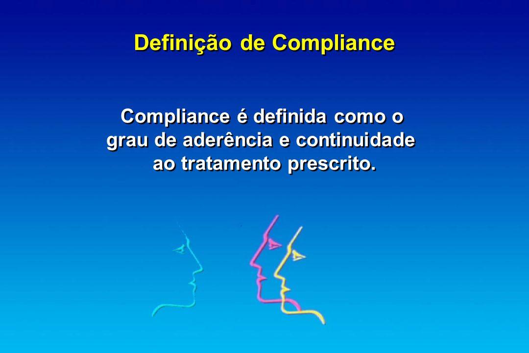 Compliance é definida como o grau de aderência e continuidade ao tratamento prescrito. Compliance é definida como o grau de aderência e continuidade a