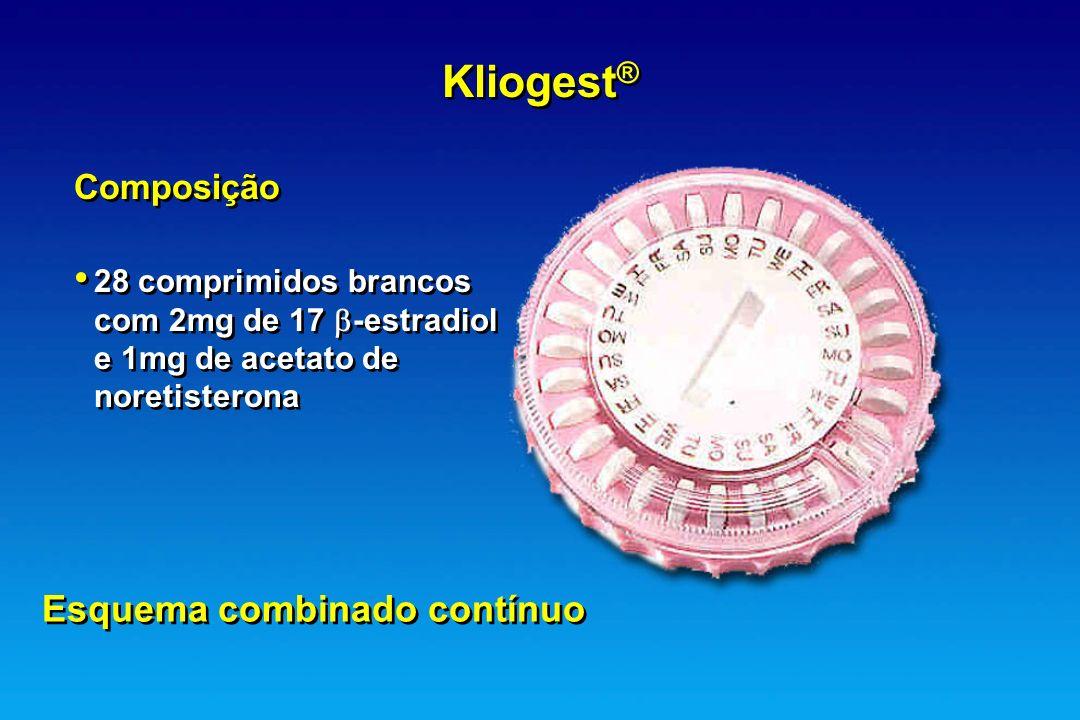 Kliogest ® Composição 28 comprimidos brancos com 2mg de 17 -estradiol e 1mg de acetato de noretisterona Esquema combinado contínuo