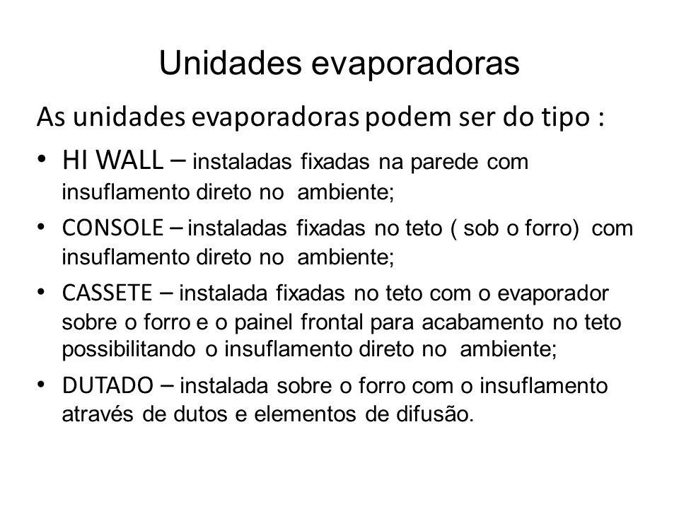 Unidades evaporadoras As unidades evaporadoras podem ser do tipo : HI WALL – instaladas fixadas na parede com insuflamento direto no ambiente; CONSOLE