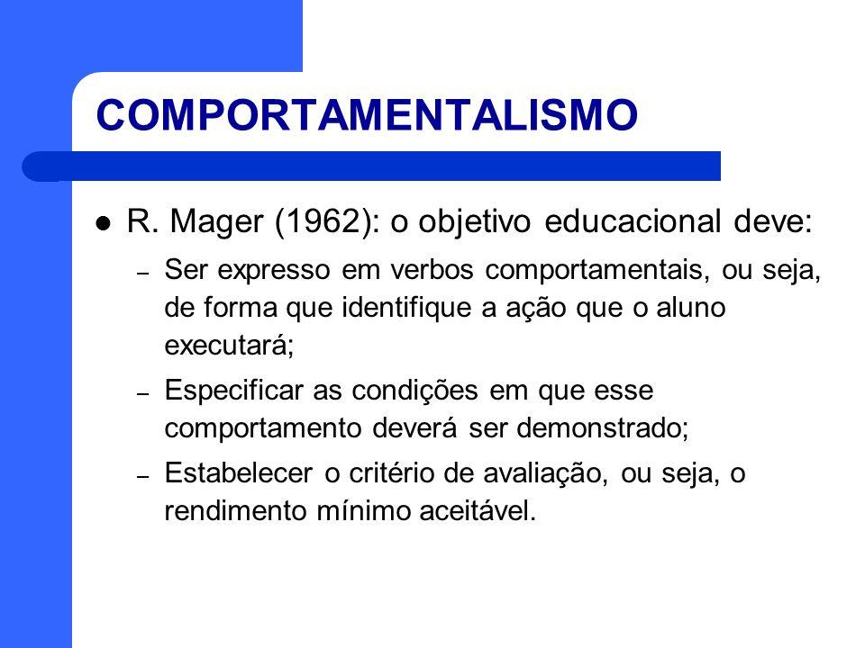 COMPORTAMENTALISMO R. Mager (1962): o objetivo educacional deve: – Ser expresso em verbos comportamentais, ou seja, de forma que identifique a ação qu