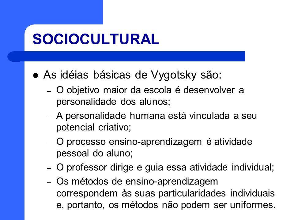 SOCIOCULTURAL As idéias básicas de Vygotsky são: – O objetivo maior da escola é desenvolver a personalidade dos alunos; – A personalidade humana está