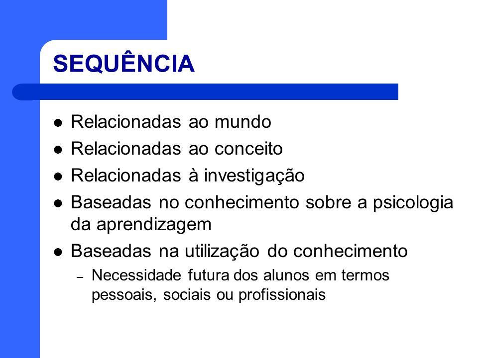 SEQUÊNCIA Relacionadas ao mundo Relacionadas ao conceito Relacionadas à investigação Baseadas no conhecimento sobre a psicologia da aprendizagem Basea