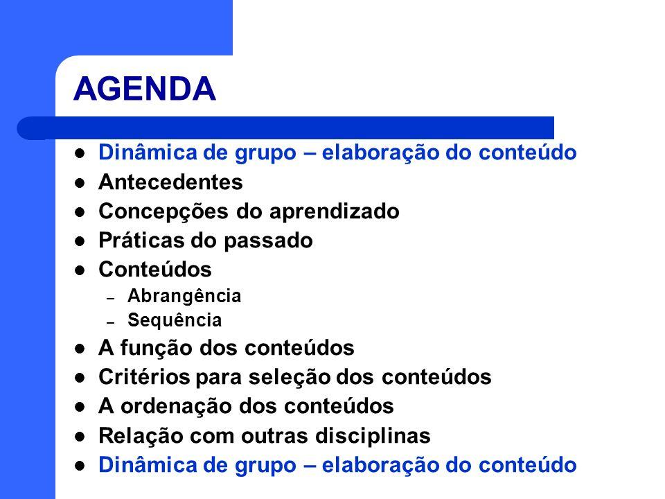 AGENDA Dinâmica de grupo – elaboração do conteúdo Antecedentes Concepções do aprendizado Práticas do passado Conteúdos – Abrangência – Sequência A fun