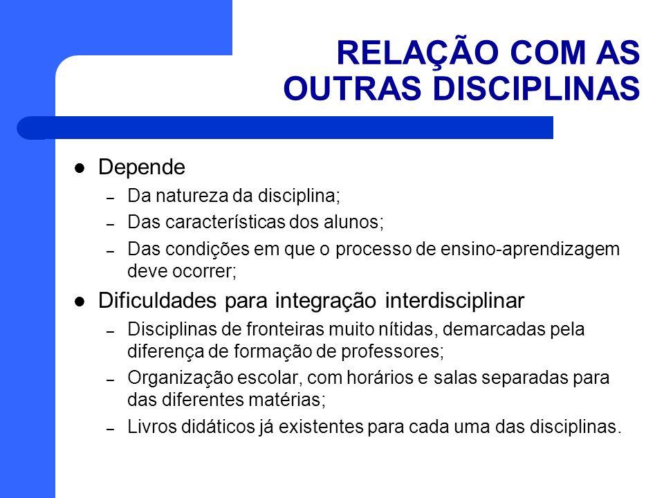 RELAÇÃO COM AS OUTRAS DISCIPLINAS Depende – Da natureza da disciplina; – Das características dos alunos; – Das condições em que o processo de ensino-a