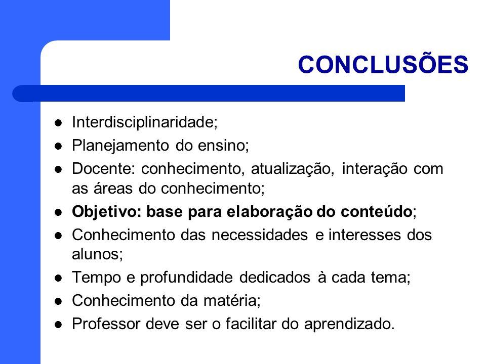 CONCLUSÕES Interdisciplinaridade; Planejamento do ensino; Docente: conhecimento, atualização, interação com as áreas do conhecimento; Objetivo: base p