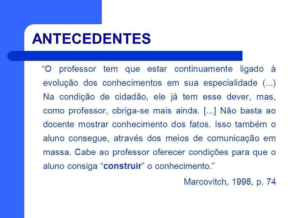 ANTECEDENTES O professor tem que estar continuamente ligado à evolução dos conhecimentos em sua especialidade (...) Na condição de cidadão, ele já tem