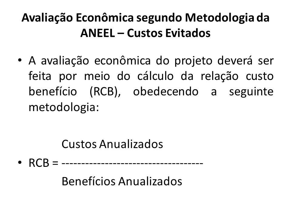 Avaliação Econômica segundo Metodologia da ANEEL – Custos Evitados A avaliação econômica do projeto deverá ser feita por meio do cálculo da relação cu