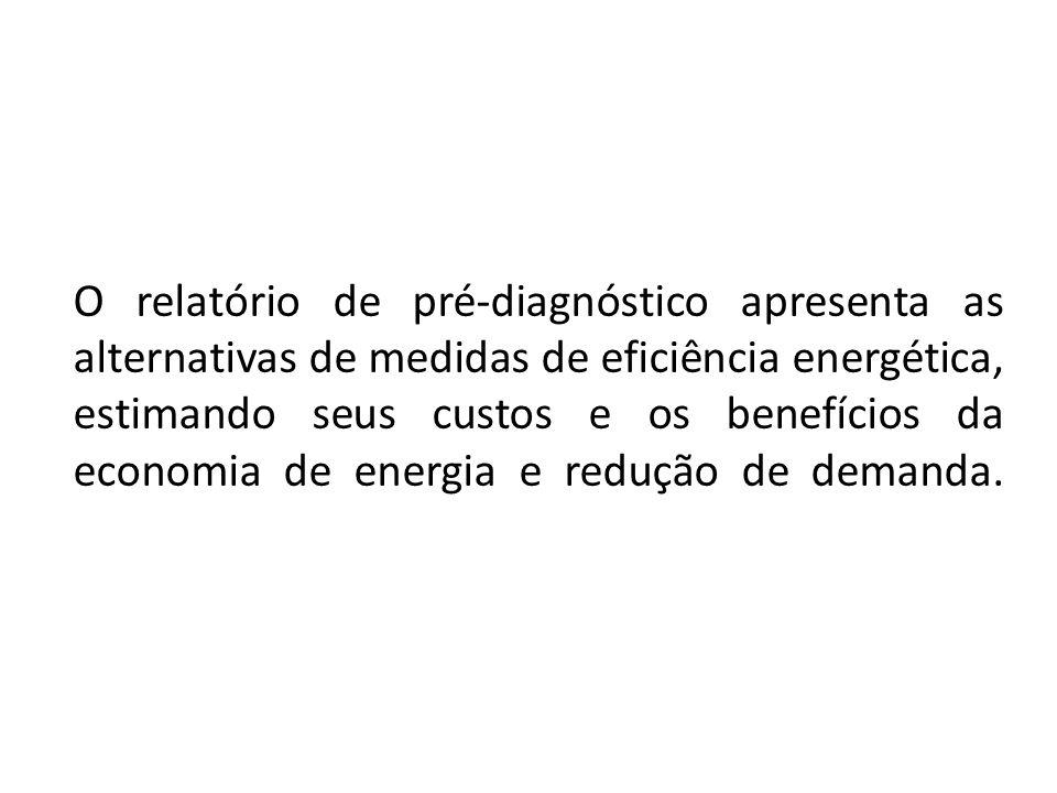 O relatório de pré-diagnóstico apresenta as alternativas de medidas de eficiência energética, estimando seus custos e os benefícios da economia de ene