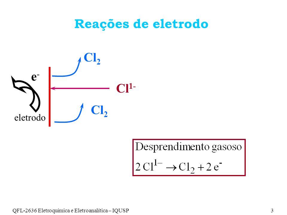 QFL-2636 Eletroquímica e Eletroanalítica – IQUSP3 Reações de eletrodo e-e- eletrodo Cl 2 Cl 1- Cl 2
