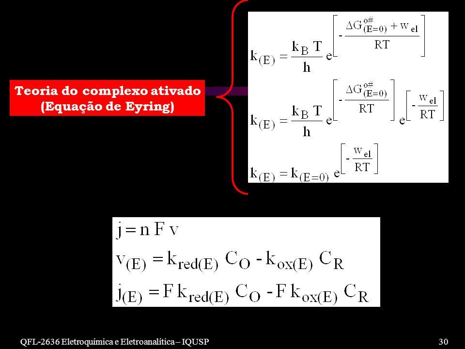 QFL-2636 Eletroquímica e Eletroanalítica – IQUSP30 Teoria do complexo ativado (Equação de Eyring)
