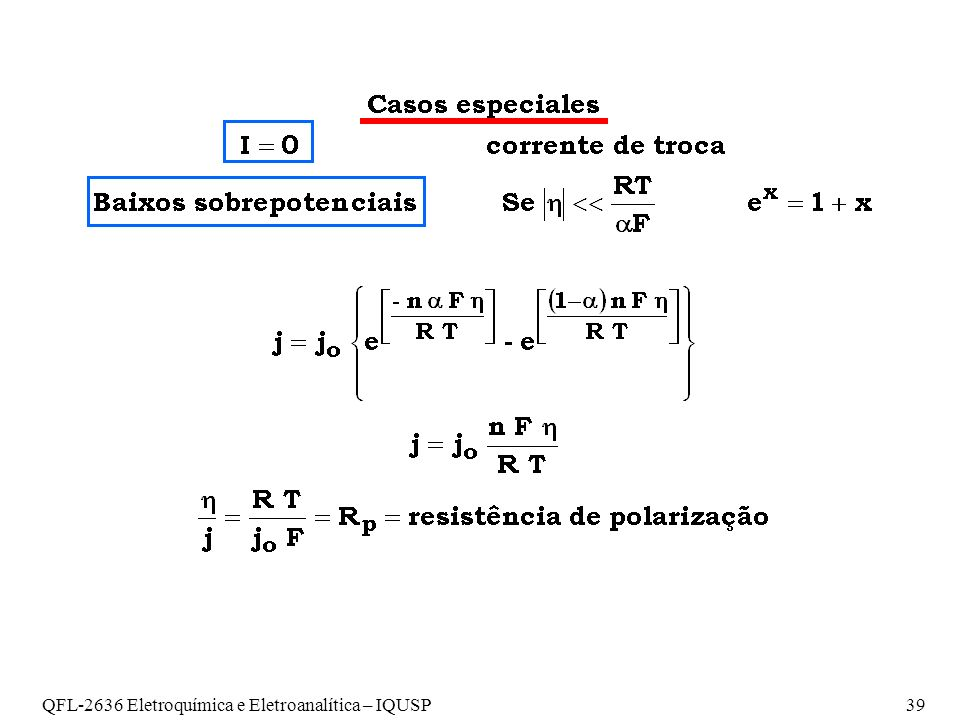 QFL-2636 Eletroquímica e Eletroanalítica – IQUSP39