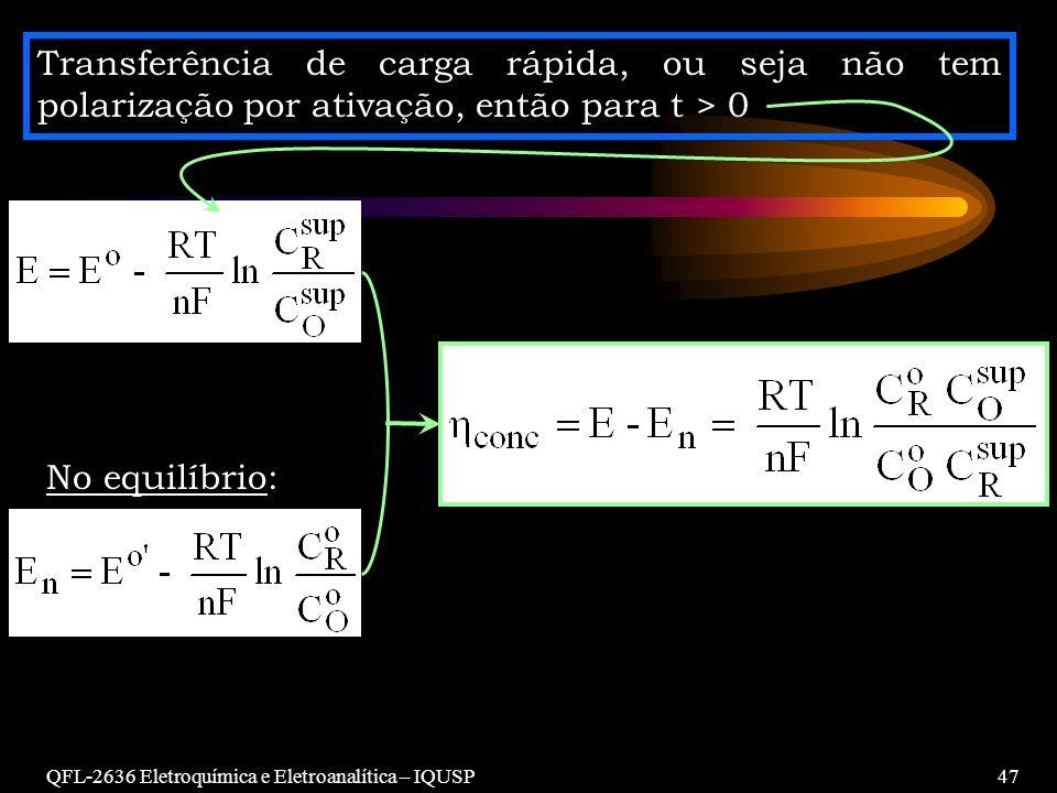 QFL-2636 Eletroquímica e Eletroanalítica – IQUSP47 Transferência de carga rápida, ou seja não tem polarização por ativação, então para t > 0 No equilí
