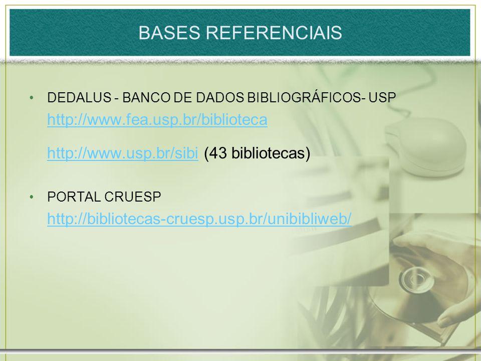 BASES REFERENCIAIS DEDALUS - BANCO DE DADOS BIBLIOGRÁFICOS- USP http://www.fea.usp.br/biblioteca http://www.usp.br/sibihttp://www.usp.br/sibi (43 bibl