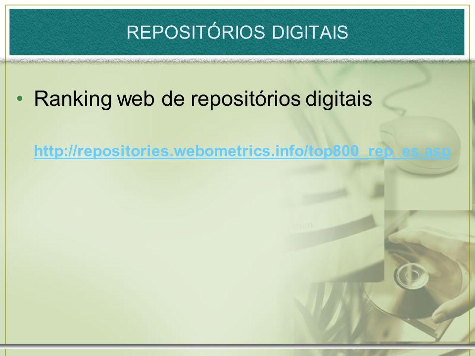 REPOSITÓRIOS DIGITAIS Ranking web de repositórios digitais http://repositories.webometrics.info/top800_rep_es.asp