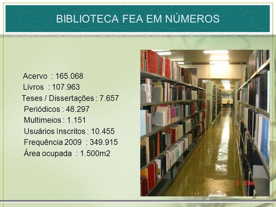 Acervo : 165.068 Livros : 107.963 Teses / Dissertações : 7.657 Periódicos : 48.297 Multimeios : 1.151 Usuários Inscritos : 10.455 Frequência 2009 : 34