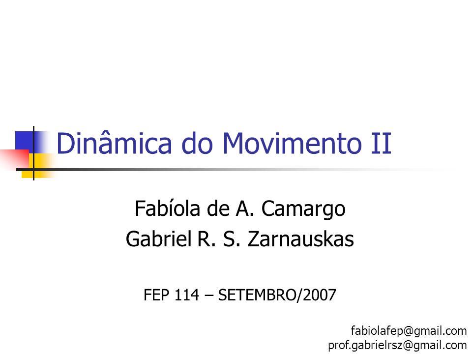 Dinâmica do Movimento II Fabíola de A. Camargo Gabriel R. S. Zarnauskas FEP 114 – SETEMBRO/2007 fabiolafep@gmail.com prof.gabrielrsz@gmail.com