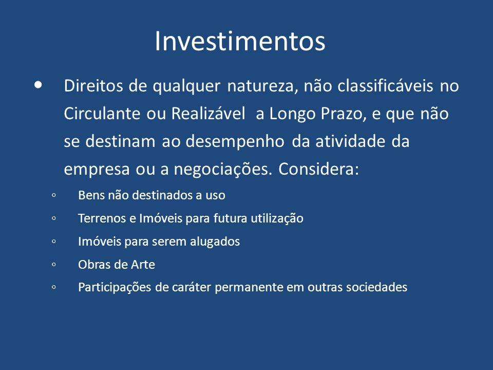 Investimentos Direitos de qualquer natureza, não classificáveis no Circulante ou Realizável a Longo Prazo, e que não se destinam ao desempenho da atividade da empresa ou a negociações.