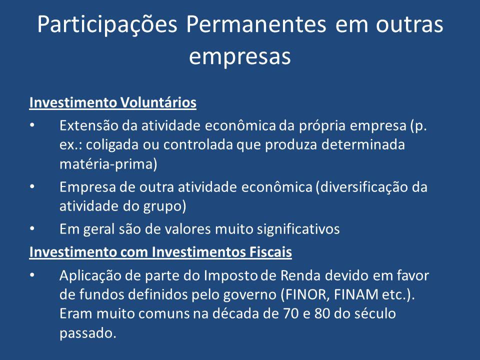 Participações Permanentes em outras empresas Investimento Voluntários Extensão da atividade econômica da própria empresa (p.