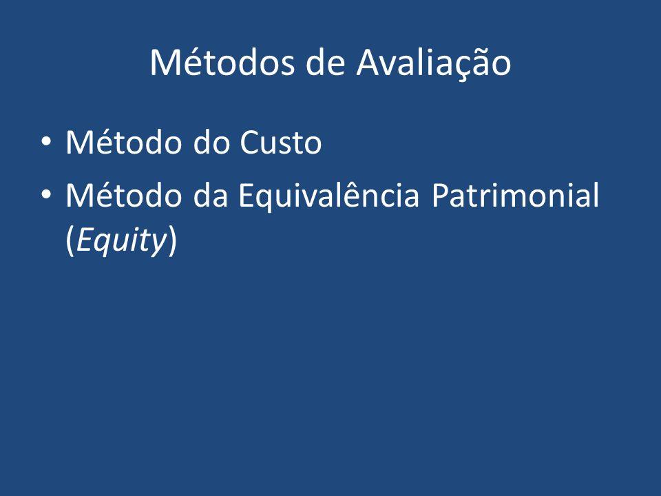 Método do Custo Valor do Ativo Os investimentos são registrados pelo valor do custo de aquisição até a data de sua venda.