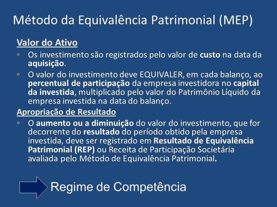 Método da Equivalência Patrimonial (MEP) Valor do Ativo Os investimento são registrados pelo valor de custo na data da aquisição.