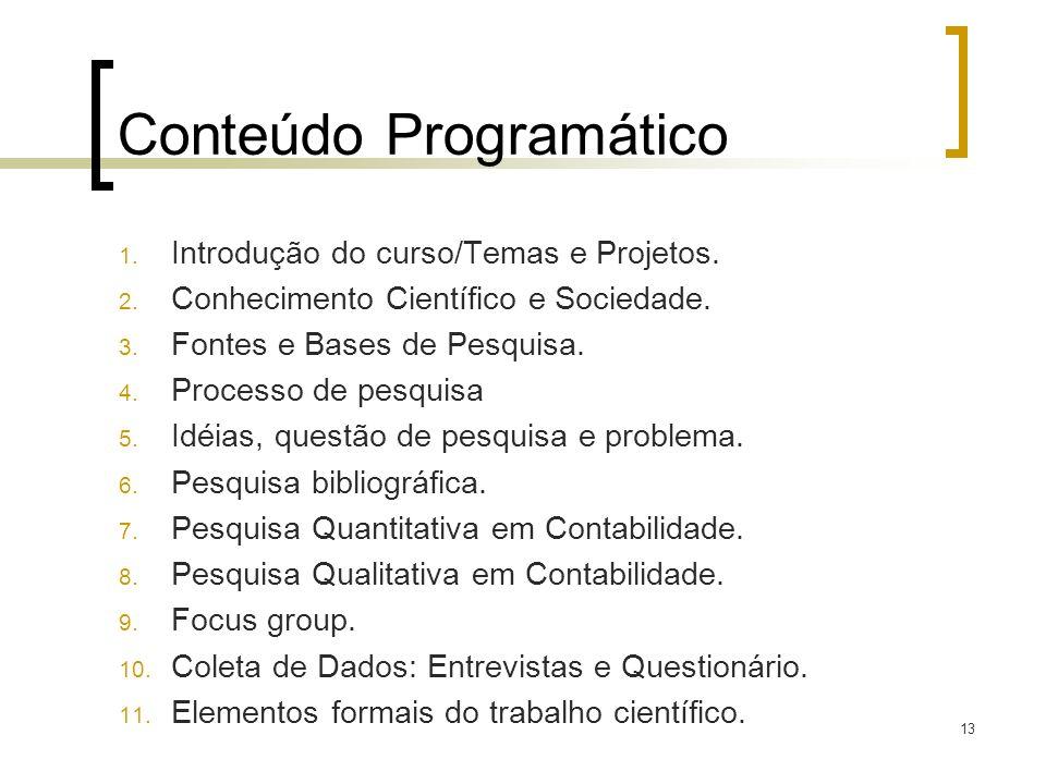 Conteúdo Programático 1. Introdução do curso/Temas e Projetos. 2. Conhecimento Científico e Sociedade. 3. Fontes e Bases de Pesquisa. 4. Processo de p