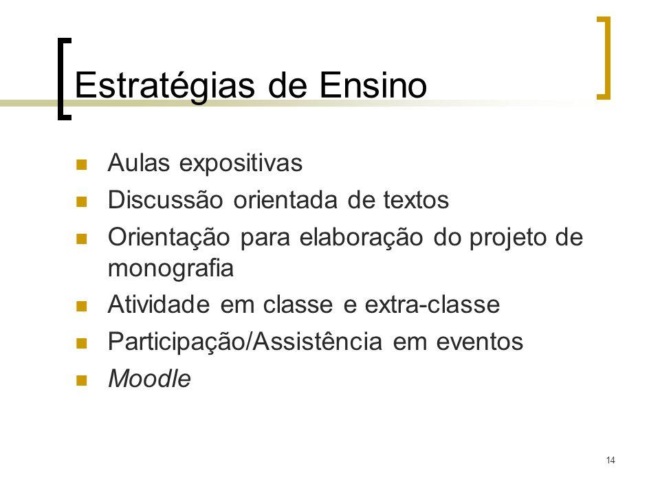 Estratégias de Ensino Aulas expositivas Discussão orientada de textos Orientação para elaboração do projeto de monografia Atividade em classe e extra-
